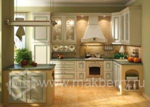 Кухня Искья зеленая, Массив ясеня, makberry Италия