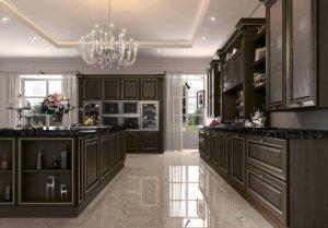 Кухня Орнелла, Массив тулипье облицованная шпоном черного ореха, Италия