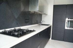 Кухня в современном стиле фасады сусальное серебро ,натуральный шпон матовый с окрытой порой столешница исскусственный камень сориан Corian antarctica